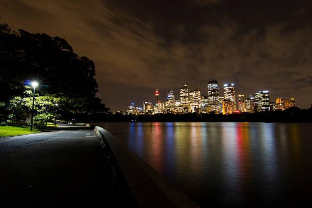 skyline di sydney per notte (royal botanic gardens) - convenzione sulla diversità biologica foto e immagini stock