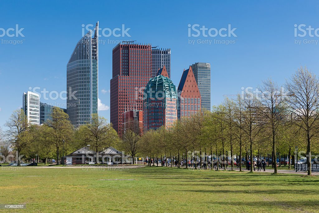 Skyline The Hague with skyscrapers and city park, The Netherlands stock photo