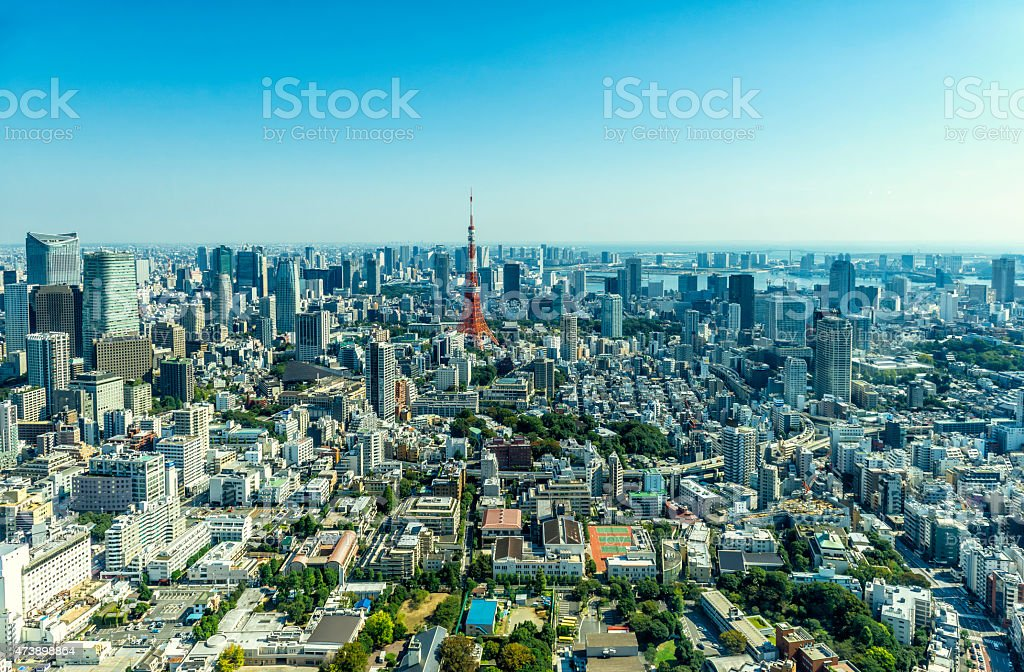 Skyline towards Downtown and Tokyo Bay stock photo