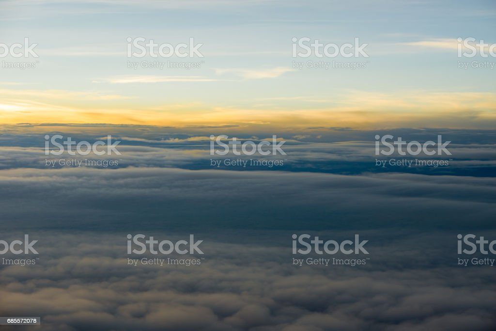 Skyline View above the Clouds from air plane royalty-free stock photo