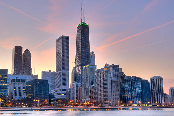 Skyline view at sunset of Northern Chicago stock photo
