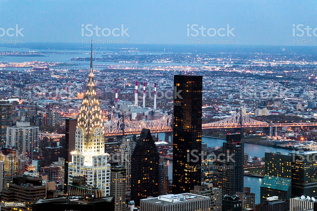 Skyline view from the top of The Empire State Building stock photo