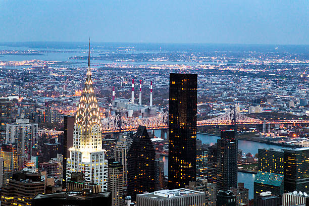 skyline view from the top of the empire state building - chrysler building stock photos and pictures
