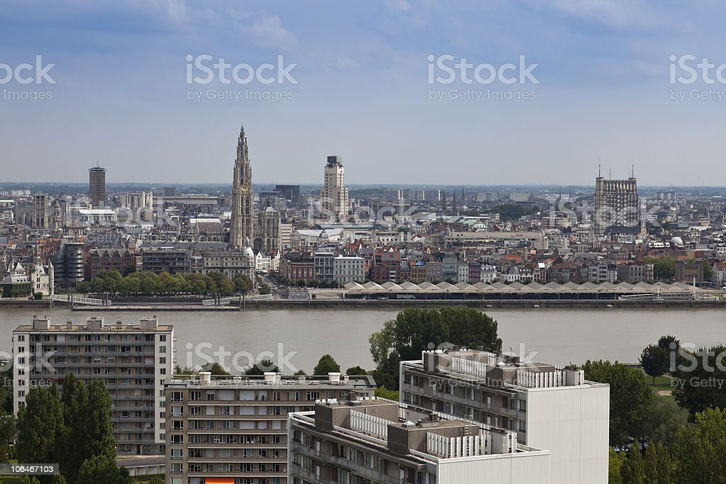 Skyline view of Antwerp featuring the water royalty-free stock photo