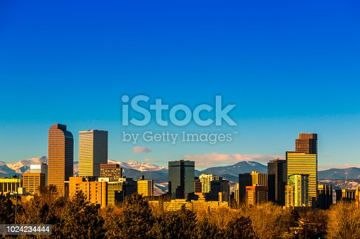 Skyline view of downtown Denver Colorado skyscapers