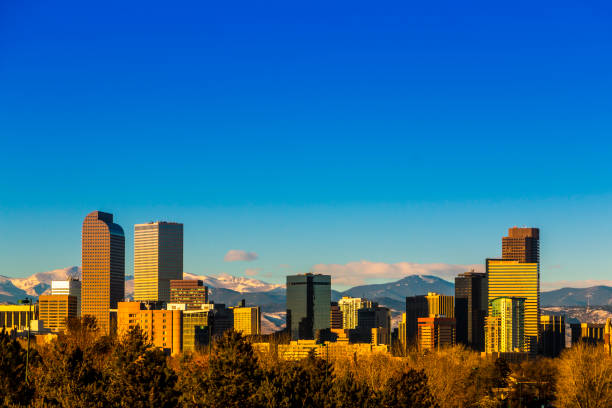 Skyline view of downtown Denver Colorado skyscapers Skyline view of downtown Denver Colorado skyscapers denver stock pictures, royalty-free photos & images
