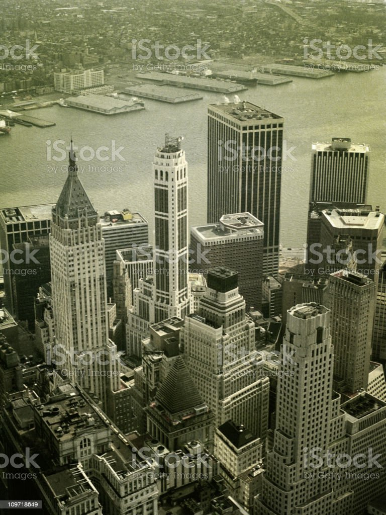 Skyline View of Financial District from World Trade Center stock photo