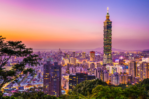 Skyline View Of Taipei Glowing In The Sunset Light Stock Photo - Download Image Now