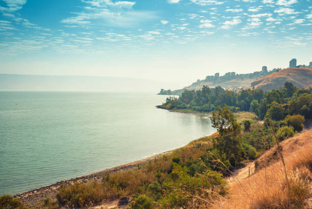 Skyline, view of Tiberias in Galilee, The Sea of Galilee, Lake of Gennesaret, Israel Skyline, view of Tiberias in Galilee, The Sea of Galilee, Lake of Gennesaret, Israel historical palestine stock pictures, royalty-free photos & images
