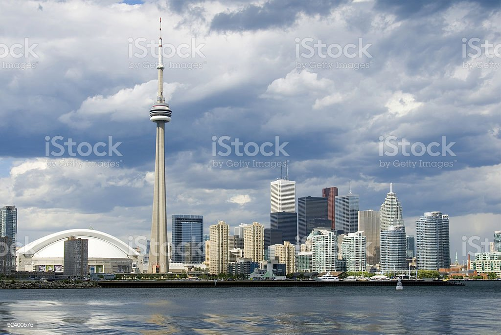 Skyline view of Toronto city by the water stock photo