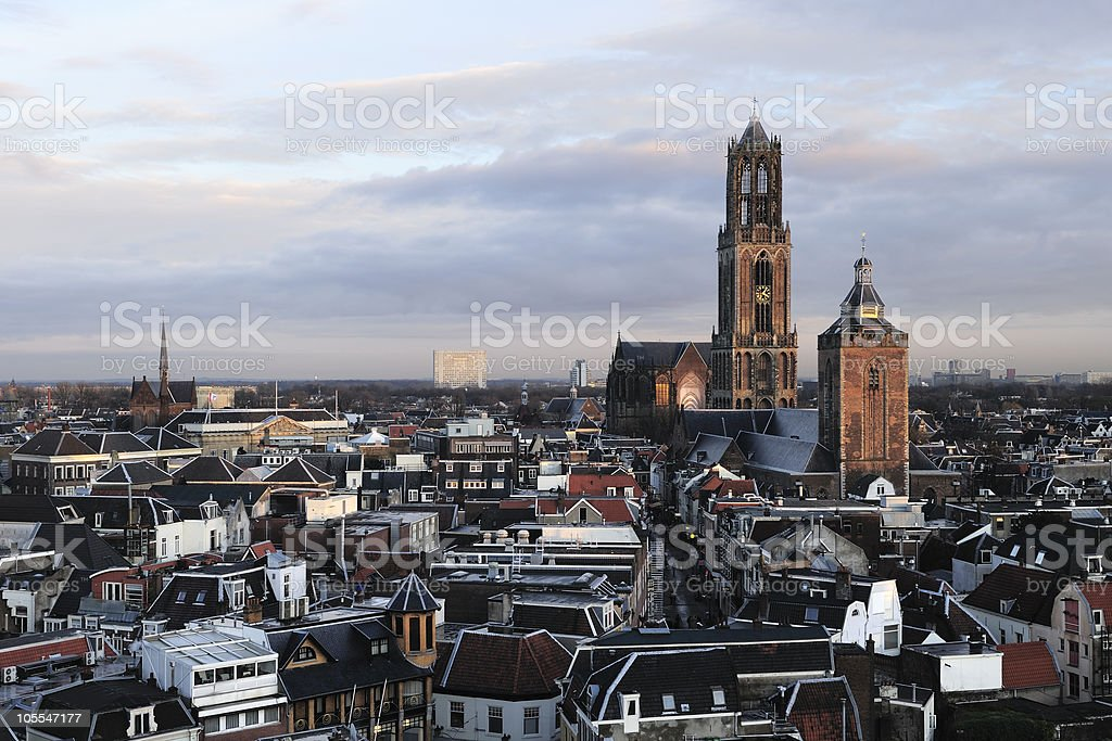 Skyline view of Utrecht in the Netherlands stock photo