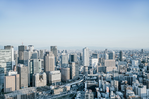 Skyline View Over Osaka, Japan