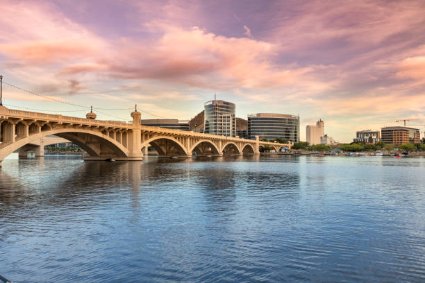 Skyline view panorama of Tempe Arizona and the Mill Avenue bridge stock photo