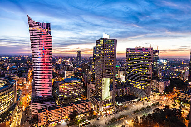 skyline warsaw - poland stock photos and pictures