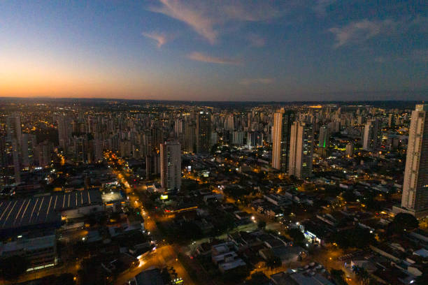 Skyline with a sunset in Goiânia, Goiás Skyline with a sunset in Goiânia, Goiás goiás city stock pictures, royalty-free photos & images