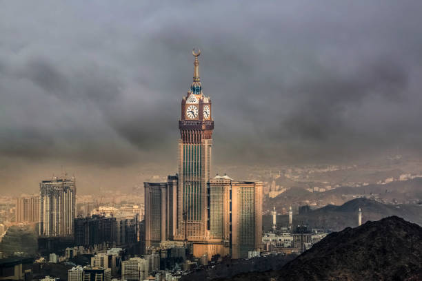 Skyline with Abraj Al Bait (Royal Clock Tower Makkah) in Mecca, Saudi Arabia. Skyline with Abraj Al Bait (Royal Clock Tower Makkah) in Mecca, Saudi Arabia. aristocrat stock pictures, royalty-free photos & images