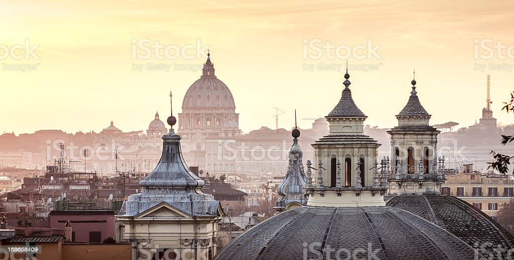 Skyline with church cupolas, Rome Italy stock photo