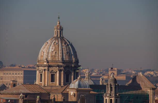 skyline with church cupolas, rome, italy - batalina italy стоковые фото и изображения