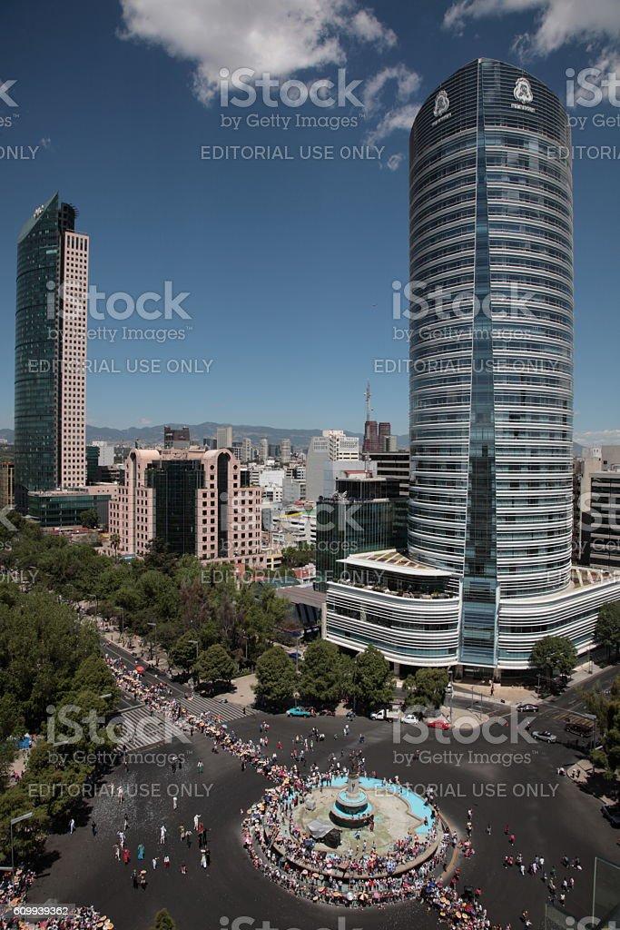 Mexico city skyline with Bicentennial Parade and Street Performances...