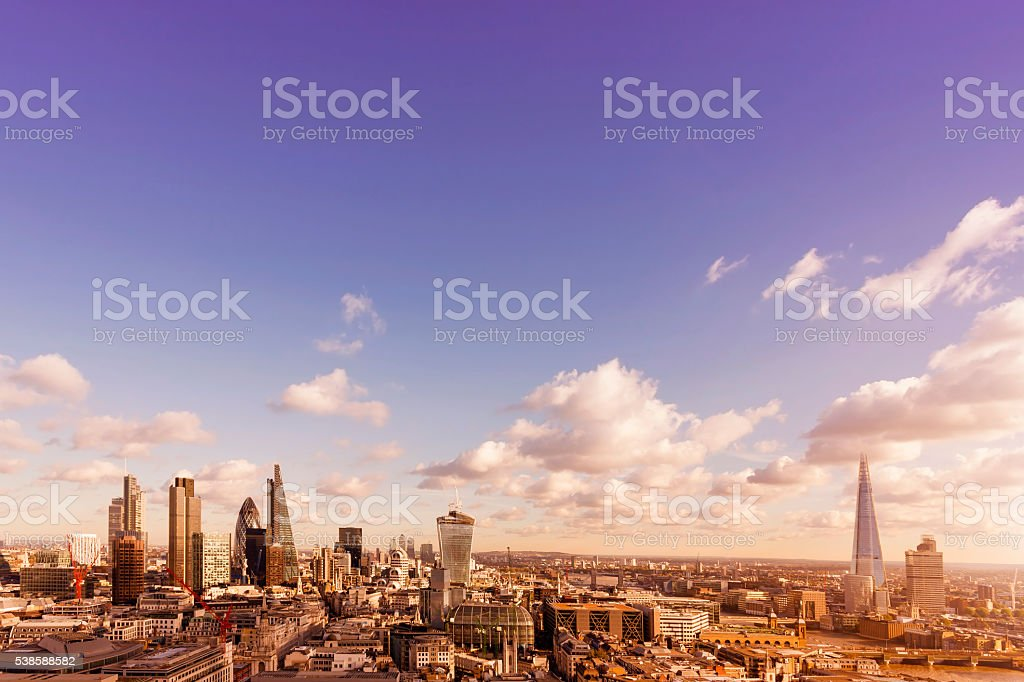 Skyline with landmarks of London at sunset stock photo