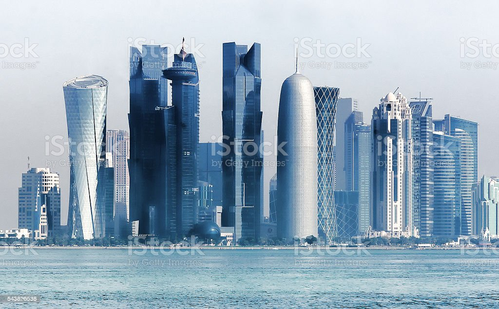 Skyline with modern skyscrapers of Doha. Qatar  from West Bay stock photo