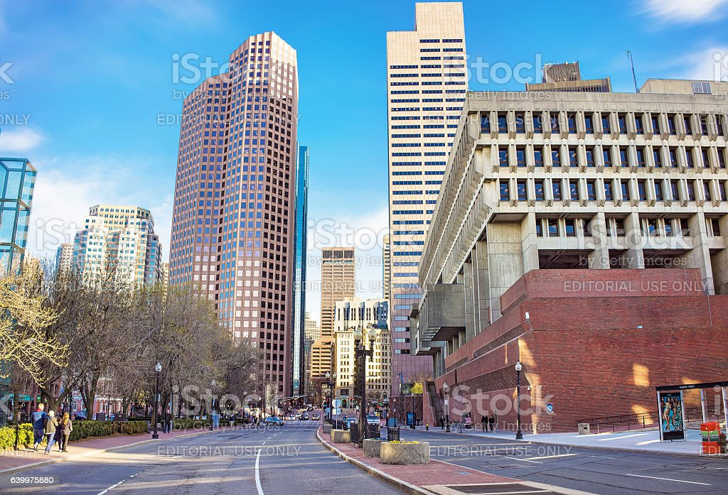 Skyline with Skyscrapers in Congress Street and City Hall stock photo