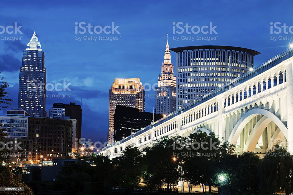 Skyline with tall building in Cleveland stock photo