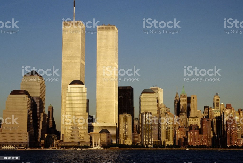 NYC skyline with the twin towers, from across the river stock photo