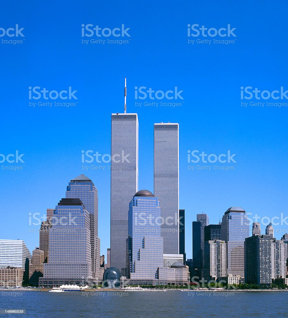 NYC Skyline With The Twin Towers stock photo
