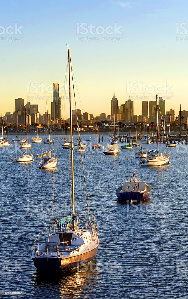 Skyline with yachts royalty-free stock photo
