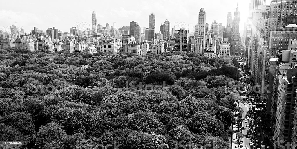 NYC Skyline,Central Park.Black And White. royalty-free stock photo
