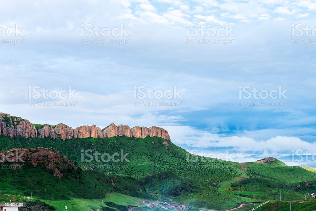 skyline,hill and meadow in tibet stock photo