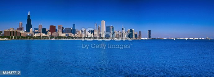 Panoramic view of Chicago city with lake Michigan
