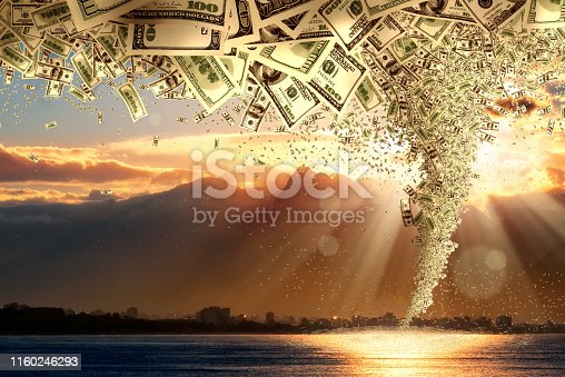 istock skylines of cityscape and storm of money tornado over cloudy sky 1160246293