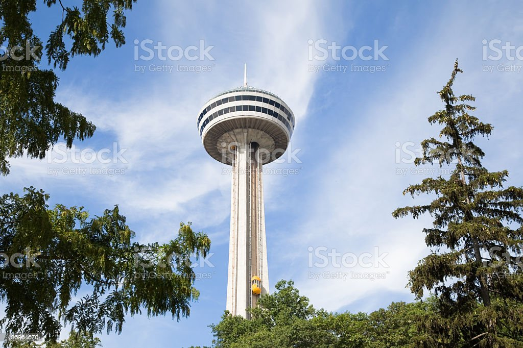 Skylon Tower and yellow bug elevators Niagra Falls, Canada stock photo