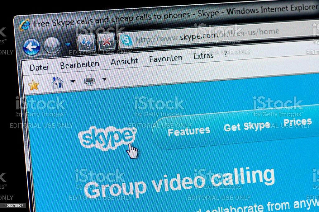 Skype - Macro shot of real monitor screen stock photo