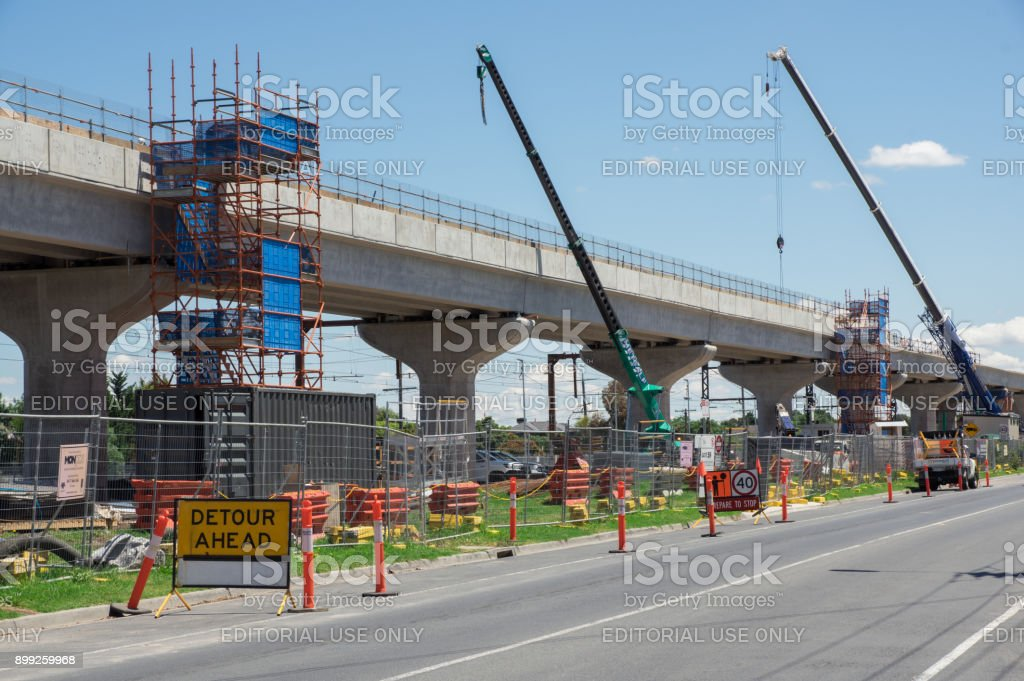 Skyrail elevated train tracks in Clayton South in suburban Melbourne. stock photo