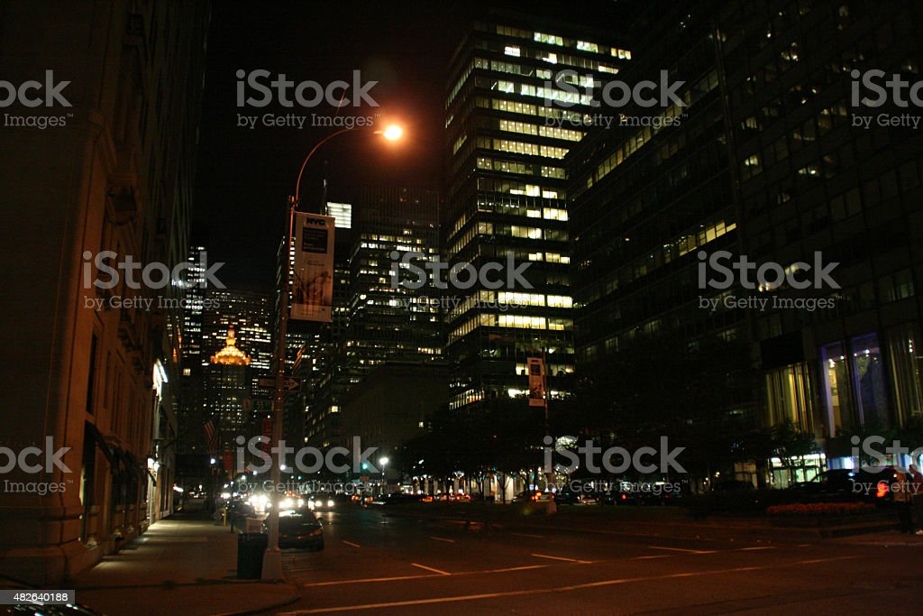 Skyscapers at Night - Manhattan stock photo