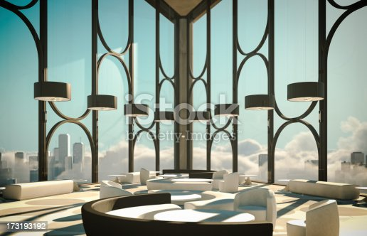 istock Skyscapers Modern Lobby Above Clouds And City 173193192