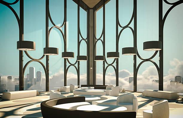 skyscapers moderne lobby über wolken und die stadt - foyerdesign stock-fotos und bilder