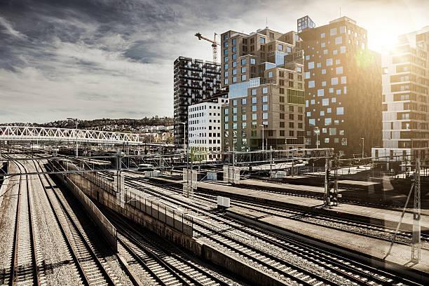 Skyscraper and central train station in Oslo stock photo