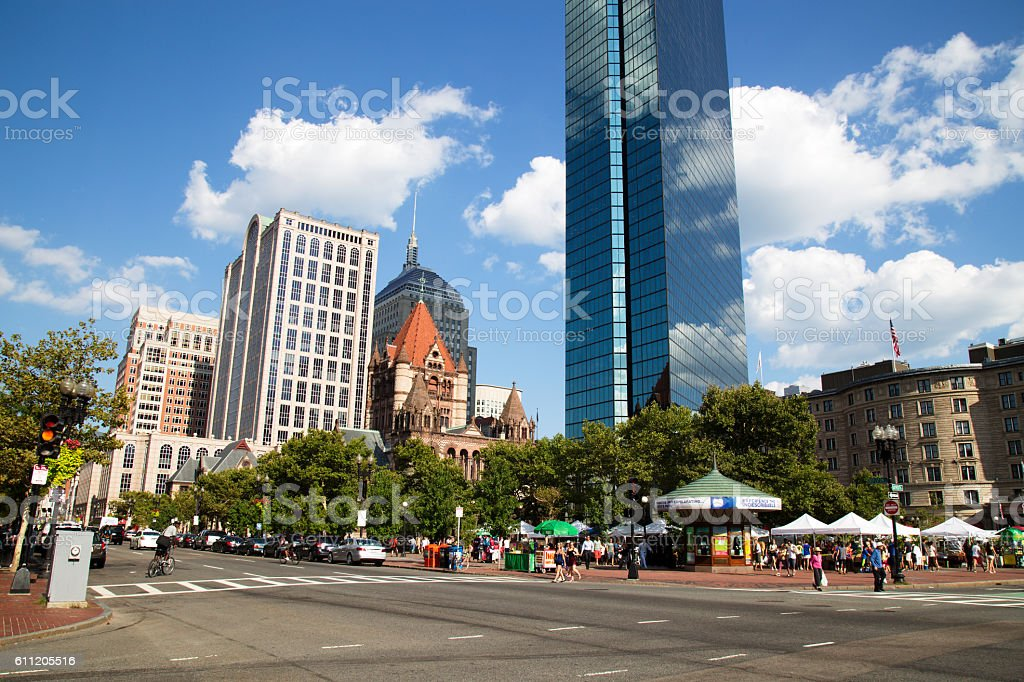 Skyscraper and History at Copley Square, Boston stock photo