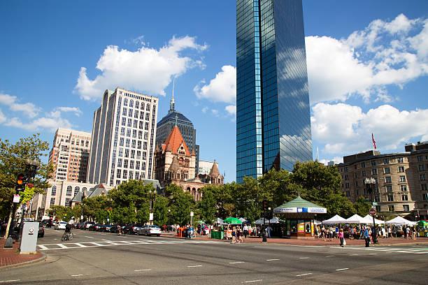 Skyscraper and History at Copley Square, Boston stock photo