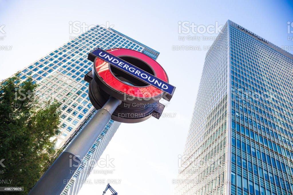 Skyscraper and subway station stock photo
