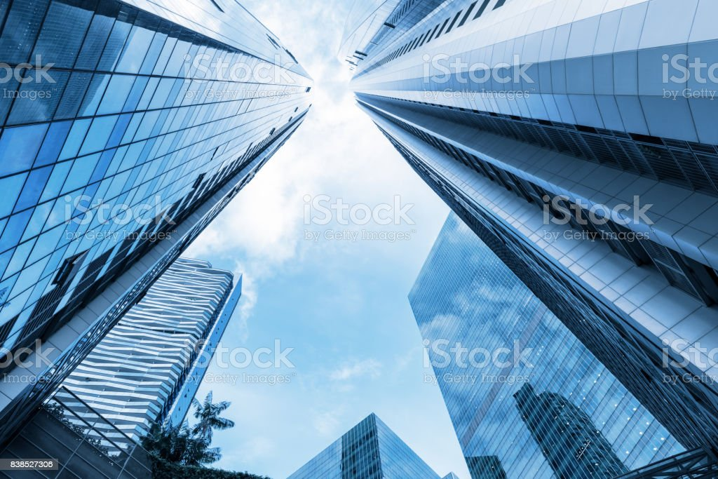 Skyscraper and tower of business center stock photo