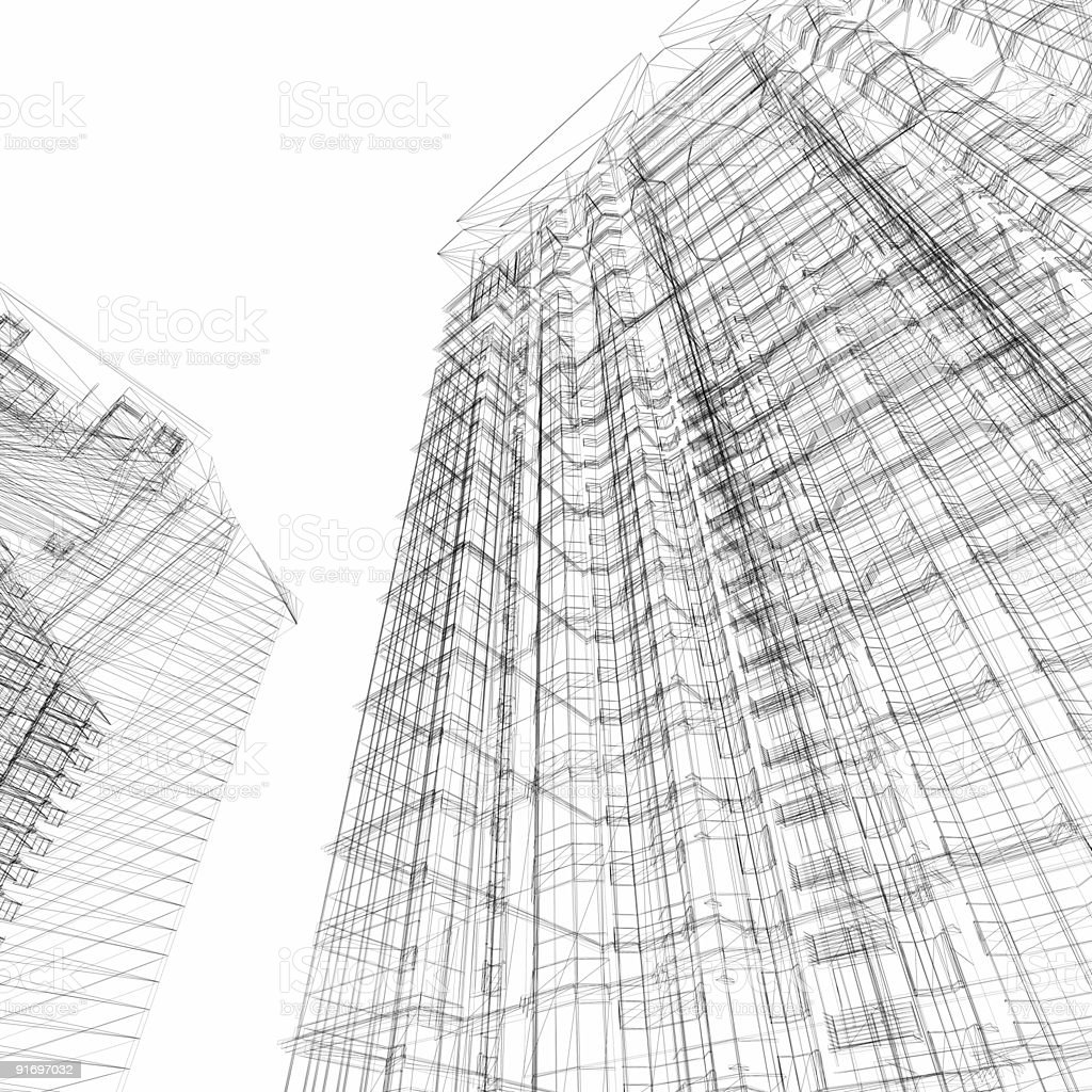 Skyscraper architectural wireframe (isolated on-white) royalty-free stock photo