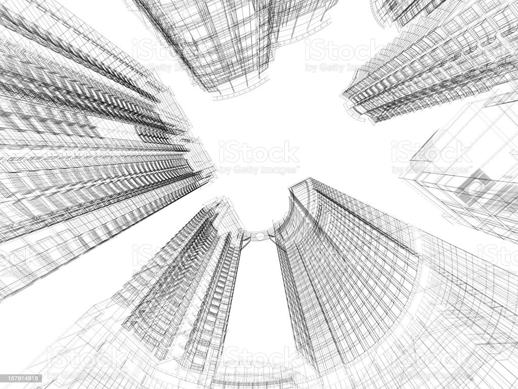 Skyscraper Architecture Blueprint Royalty Free Stock Photo