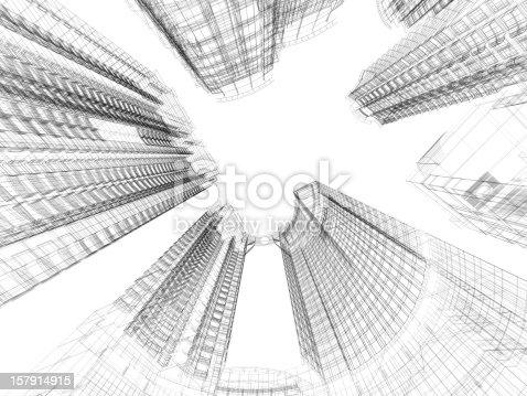 istock Skyscraper Architecture Blueprint 157914915
