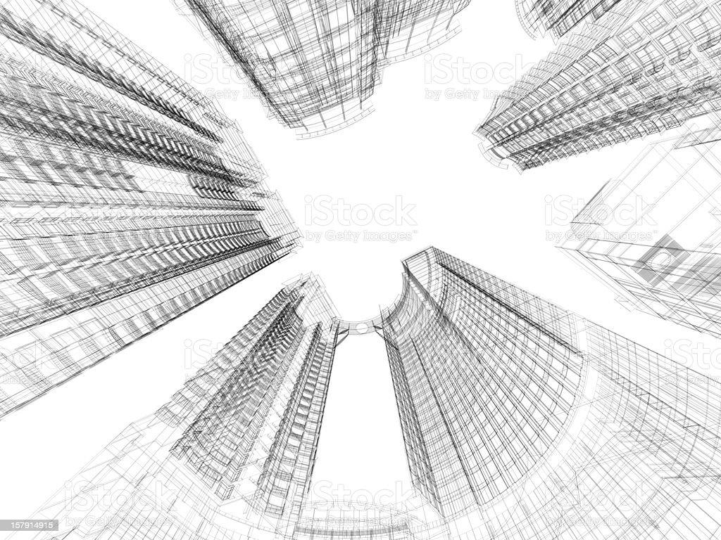 Skyscraper Architecture Blueprint stock photo