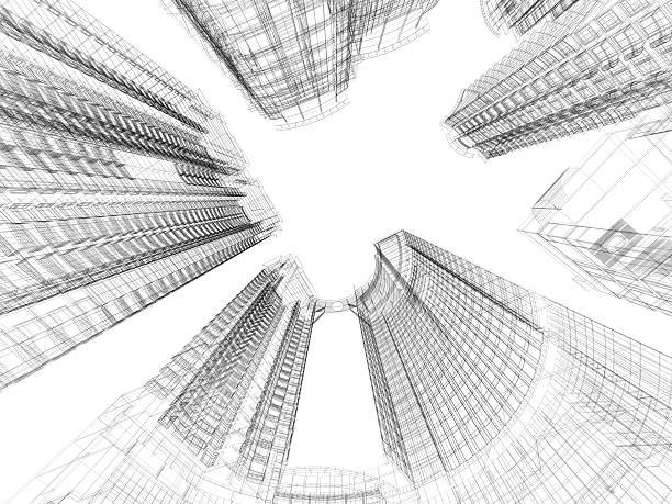 Wolkenkratzer Architektur Blueprint – Foto